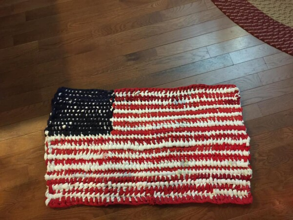 Red White and Blue Flag Amish Knot Rug